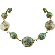 Chinese Cloisonne and Painted  Glass Bead Necklace