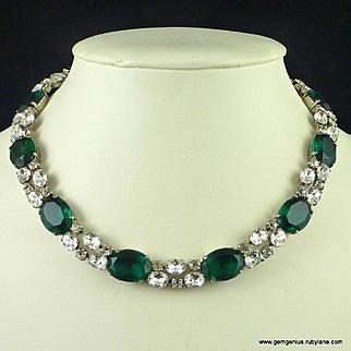 Schreiner  Emerald Rhinestone Necklace