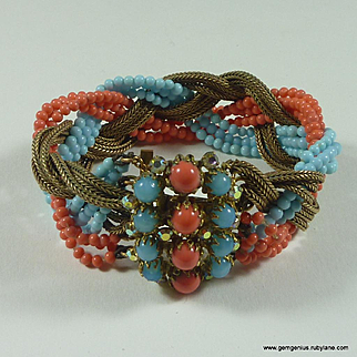 French Faux Coral and Turquoise Bracelet