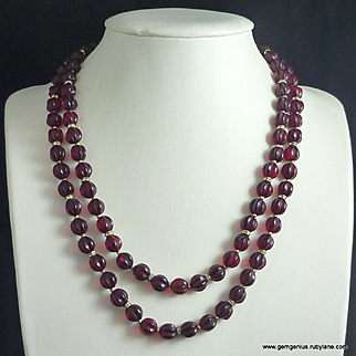 Ruby Melon Bead and Rhinestone Necklace