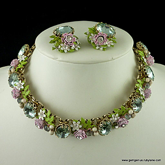 Enamel and Rhinestone Floral Collar and Earring Set