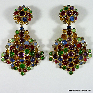 Gripoix Poured Glass Drop Earrings