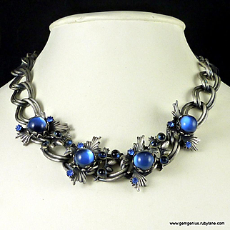 Unusual Blue Cabochon Stones Necklace