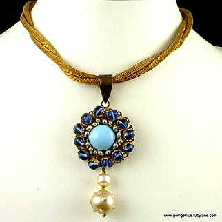 French Gilt Mesh Pendant Necklace
