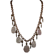 Chinese Carved  Rose Quartz Necklace