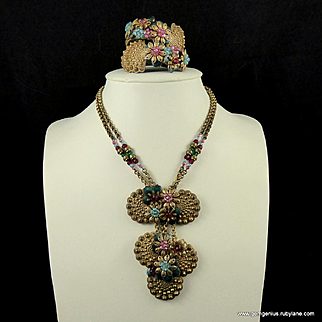 Early Haskell Enamel and Bead Gilt Necklace and Bracelet Set