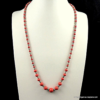 French Coral Glass and Rhinestone Necklace