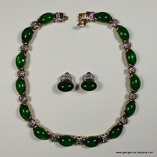 Faux Jade and Rhinestone Necklace and Earring Set