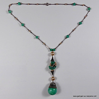 Faux Pearl and Jade Bead Rousselet  Necklace