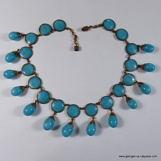 French Gilt Metal and Poured Glass Bib Necklace