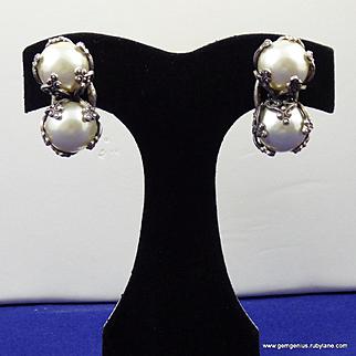 Louis Rousselet  Pearl Earrings