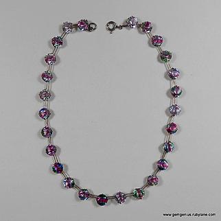Art Deco Silver Set Crystal Necklace