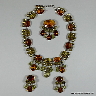 Early Dior Necklace Earring and Brooch Set