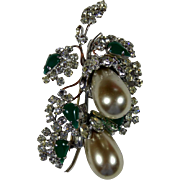 Large Schreiner Faux Pearl and Rhinestone Pin