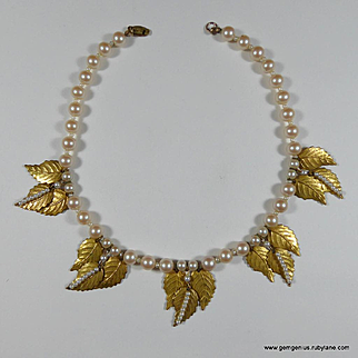 Miriam Haskell Gilt Leaf and Faux Pearl Necklace