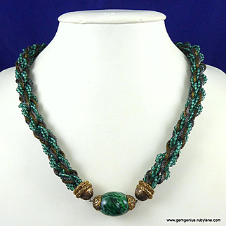 Louis Rousselet Faux Malachite and Gilt Necklace