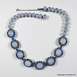 Faux Sapphire and Opalescent Moonstone Necklace
