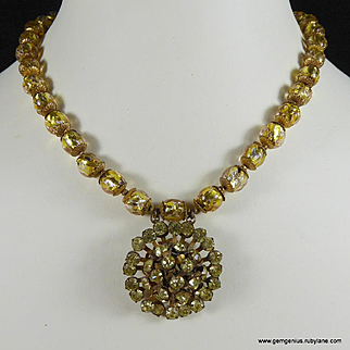 Miriam Haskell Gold foil Bead and Rhinestone Necklace