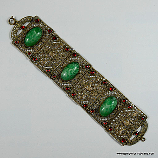 Czech Filigree and Rhinestone Bracelet.