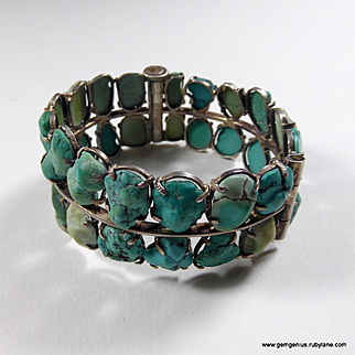 Chinese Silver and Turquoise Bracelet