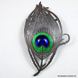 Rare Piel Freres Peacock Feather Buckle.