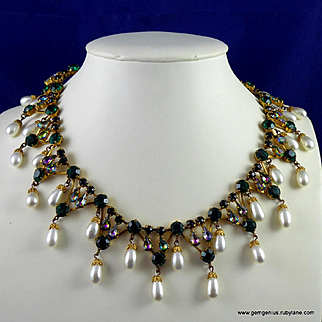 Countess Cis Zoltowska Faux Pearl and Rhinestone  Necklace