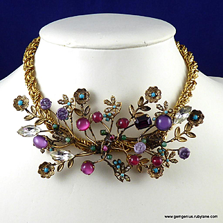Spectacular  Rhinestone Gilt and Bead Necklace
