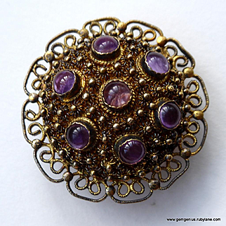 Silver Gilt and Amethyst Chinese Brooch