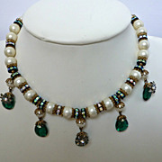 Unsigned Hobe Faux Pearl  Emerald and Rhinestone Rondelle Bib Necklace