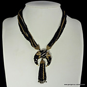 Haskell Style French Jet Glass, Roses Montees Gilt Necklace