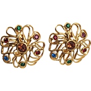 Vintage Yves Saint Laurent YSL Paris Signed Jeweled Clip On Earrings multicolor stones