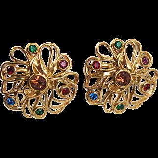 Vintage Yves Saint Laurent YSL Paris Signed Jeweled Clip On Earrings multicolor stones