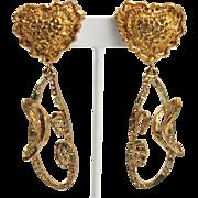 Christian Lacroix Paris Signed Clip Earrings Dangle Gold-tone Heart Champagne Rhinestone