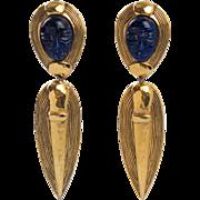 Guy Laroche Paris Signed Clip Earrings Vintage Dangling Shape Carved Faux Lapis Stone