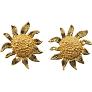 Yves Saint Laurent YSL Paris Signed Clip on Earrings Vintage Large Gilt Sunflower