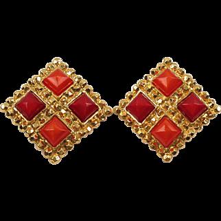 Edouard Rambaud Paris Signed Clip On Earrings Vintage Byzantine Red & Orange Color