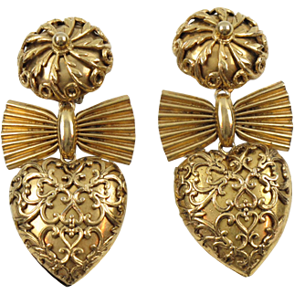 Zoe Coste Paris Signed Clip on Earrings Vintage Gilt Metal Baroque Heart