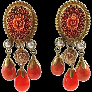 French designer Gas Saint Tropez dangling clip on earrings vintage glass drop faux coral