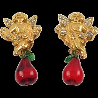 Sonia Rykiel Paris Signed Clip Earrings Gilt Metal Cherub Blown Glass Charm