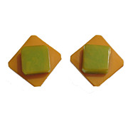 Vintage bi-color Bakelite laminated clip-on Earrings Butterscotch Green