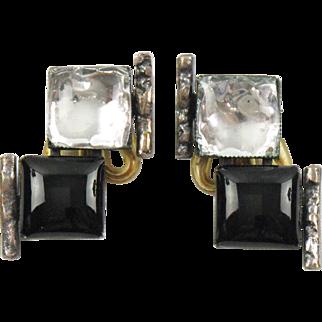 Rare Jacques Gautier Paris Black & Glitter Glass Clip on Earrings Vintage 1960s