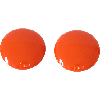Bakelite clip-on Earrings vintage large orange pumpkin rare color