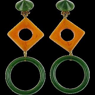 Vintage Pop Art Bakelite clip on Earrings Forest Green & Blood Orange Marble