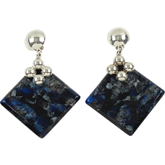 Silver-Plate & Blue Marble Lucite Dangle Clip-on Earrings Vintage 1960s