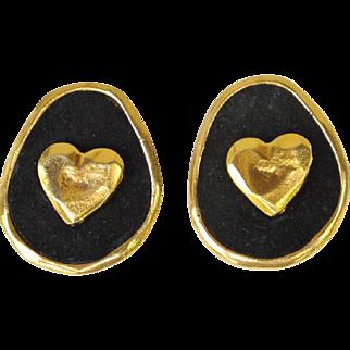 French Edouard Rambaud Paris signed clip Earrings vintage goldtone black velvet heart