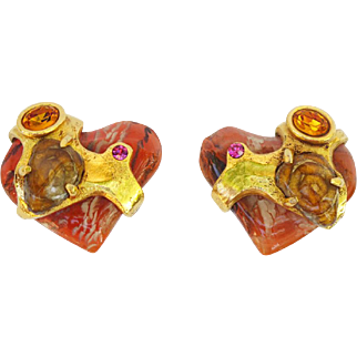 Christian Lacroix Paris signed clip on Earrings Vintage Baroque heart rhinestone