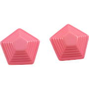 Vintage Lucite clip on Earrings taffy pink pyramid carved shape