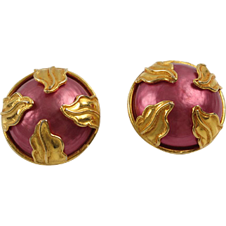 Dominique Aurientis Paris signed Clip on Earrings vintage goldtone pink pearl-like