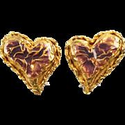 Christian Lacroix Paris signed Clip Earrings vintage goldtone heart purple enamel