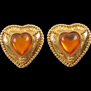 Yves Saint Laurent Paris signed clip on Earrings Vintage goldtone heart orange cabochon